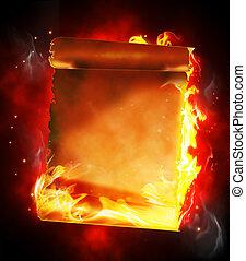 brennender, leer, papyrus