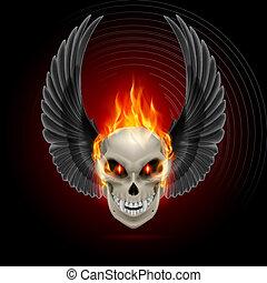 brennender, mutierend, totenschädel