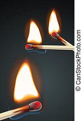 brennender, satz, streichholz