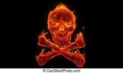 brennender, schädel gekreuzte knochen