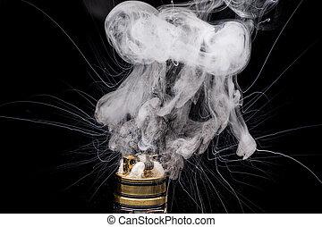 brennender, vaporizing, zubehörteil, cigarette., e-cig, glycerin, populär, e-liquid, elektronisch, vape