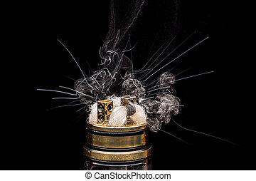 brennender, von, elektronisch, cigarette., populär,...