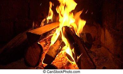 brennt, behalten, feuer, warm., kaminofen