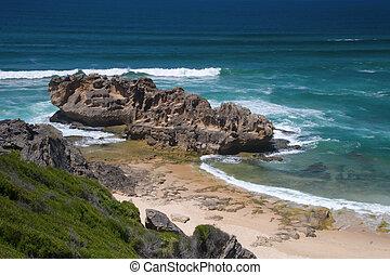 brenton-on-sea, rocheux, affleurement, afrique, knysna, ...