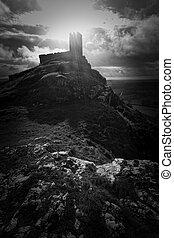 Brentor church perched on a rocky hilltop on Dartmoor...