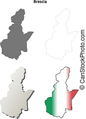 Brescia blank detailed outline map set - Brescia province...