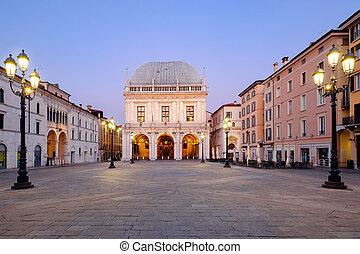 Brescia italian city near Garda lake main square called piazza loggia