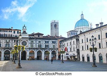 brescia, loggia square - Loggia square in Brescia, Italy,...