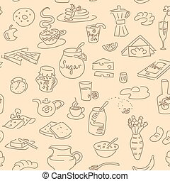 Breskfast doodel seamless pattern