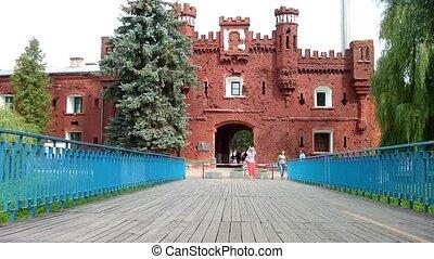 Brest Fortress - BREST, BELARUS - AUGUST 4: People walk...