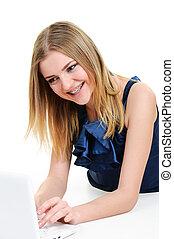 bretelle, ragazza, laptop, lavorativo