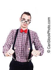 bretelles, nerd, homme