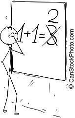 brett, geschäftsmann, fehler, berechnend, wand, karikatur
