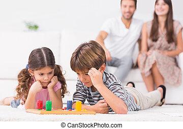 brett, geschwister, boden, spiel, spielende