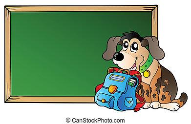 brett, mit, hund, und, schulen sack