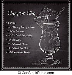 brett, schwarz, cocktail, schlinge, singapur