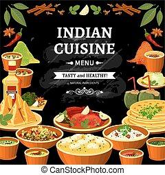 brett, schwarz, indische , menükarte, küche, plakat