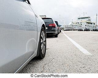 brett, winkel , geparkt, linie, ansicht, warten, autos, ferry.