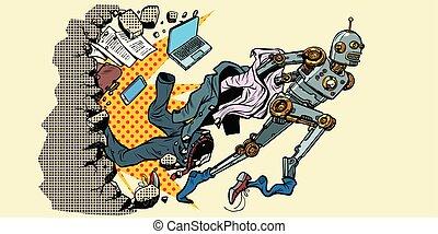 breuken, uit, robot, menselijk, stereotypes.