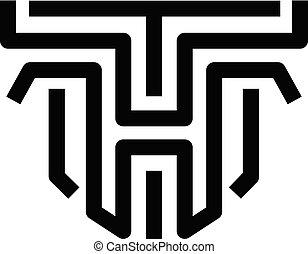 brev, begrepp, fodrar, ht, skapande, vektor, tunn, th, logo...