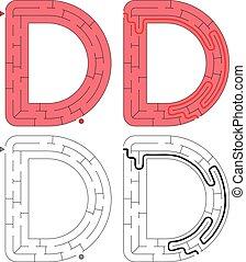 brev, -, d, alfabet, labyrint, lätt