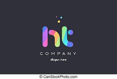brev h, t, ht, färger, regnbåge, ikon, logo, skapande, ...