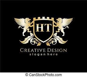 brev, mall, lejon, initial, kunglig, logo, ht