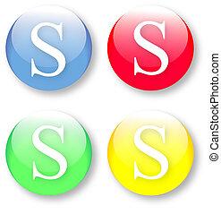 brev s, ikon, från, den, engelsk, alfabet