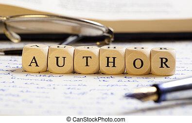 brev, tärningar, concept:, författare