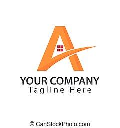 brev, vektor, a., hus, logo, kombinera, illustration