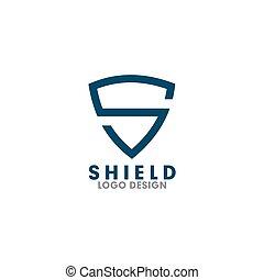 brev, vektor, mall, skydda, logo, design, s