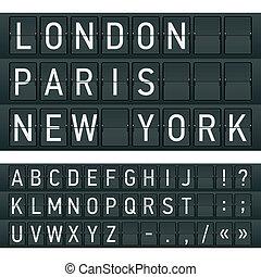 breve, på, en, mekanisk, timetable