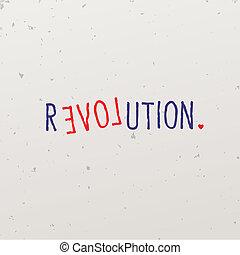 breven, formning, ord vilt, med, revolution