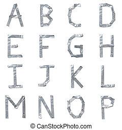 breven, gjord, ute, av, tejpa