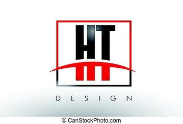 breven, h, ht, färger, svart, t, logo, swoosh., röd