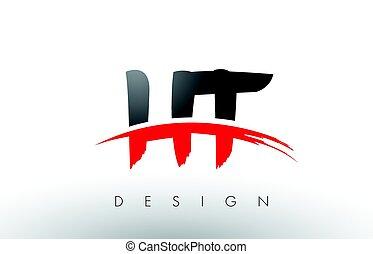 breven, h, ht, svart, t, swoosh, främre del, logo, röd ...