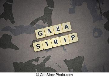 breven, med, text, gaza remsa, på, den, kaki, bakgrund., militär, begrepp