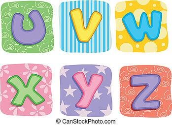 breven, täcke, alfabet, u, w, v, y, x, z