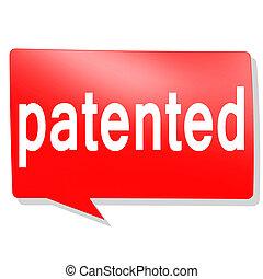 breveté, parole, mot, rouges, bulle