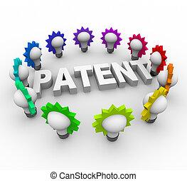 brevetto, lampadine, circondato, parola, luce