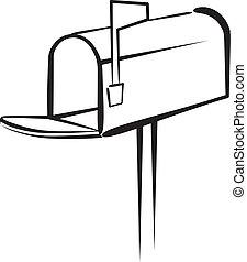 brevlåda, illustration, vektor
