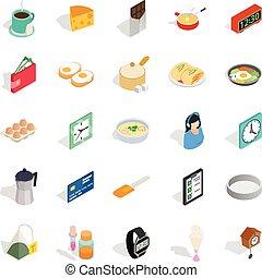 Brew icons set, isometric style