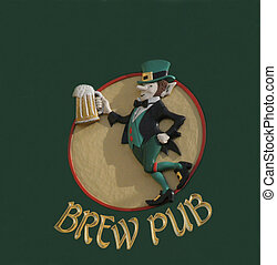 Brew Pub - A leprechaun figure holding a mug of beer.