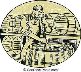 Brewer Brewing Beer Etching - Etching engraving handmade...