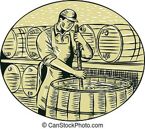 Brewer Brewing Beer Etching - Etching engraving handmade...