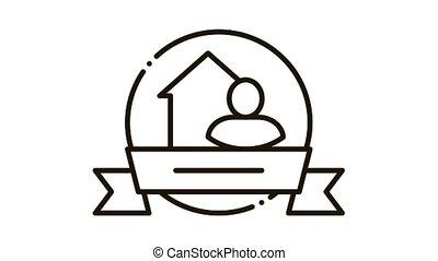 Brewer Logo Label Icon Animation. black Brewer Logo Label animated icon on white background