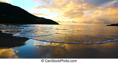 A beautiful sunset over Brewers Bay on Tortola - British Virgin Islands.