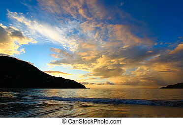 Evening sets in over Brewers Bay on Tortola - British Virgin Islands.