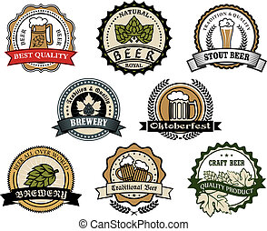 Brewery and beer labels set depicting tankards of beer and...