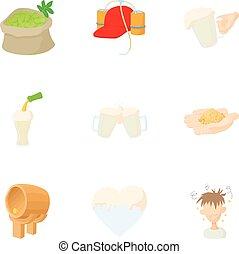 Brewery icons set, cartoon style